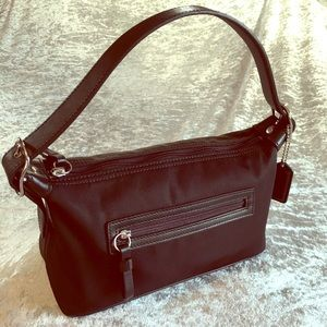 Coach twill and leather shoulder bag
